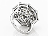 White Cubic Zirconia Rhodium Over Sterling Silver Ring 12.37CTW
