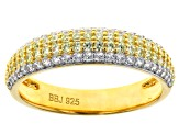Yellow And White Cubic Zirconia 18K Yellow Gold Over Sterling Silver Ring With Band