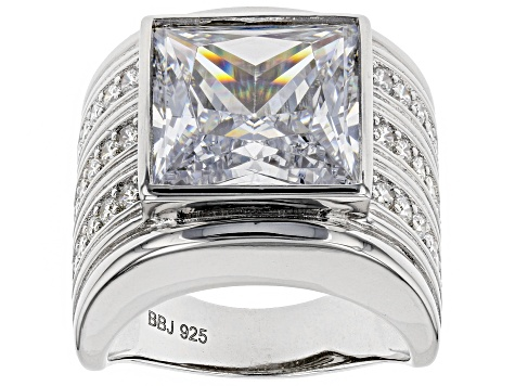 White Cubic Zirconia Rhodium Over Sterling Silver Ring 16.29CTW