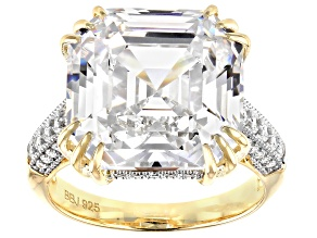 White Cubic Zirconia 18k Yellow Gold Over Sterling Silver Asscher Cut Ring 23.95ctw