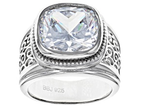White Cubic Zirconia Rhodium Over Sterling Silver Ring 14.00CTW