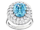 Blue And White Cubic Zirconia Rhodium Over Sterling Silver Ring 9.59CTW