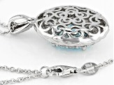 Blue And White Cubic Zirconia Rhodium Over Sterling Silver Pendant With Chain 9.75CTW