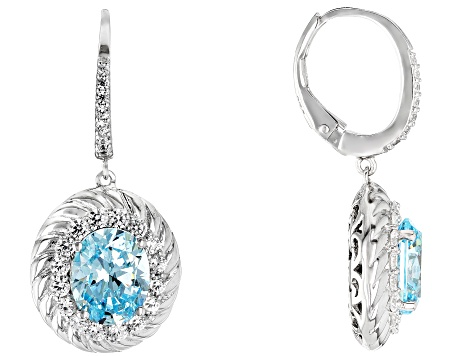 Blue And White Cubic Zirconia Rhodium Over Sterling Silver Earrings 11.21CTW