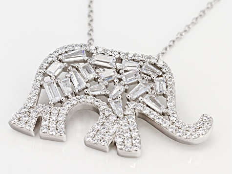 White Cubic Zirconia Rhodium Over Sterling Silver Elephant Pendant With Chain 3.92CTW
