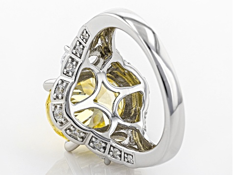 Yellow & White Cubic Zirconia Rhodium Over Sterling Silver Center Design Ring 10.49ctw.