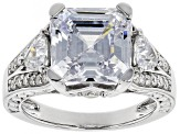 White Cubic Zirconia Rhodium Over Sterling Silver Center Design Ring 9.27ctw