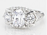 White Cubic Zirconia Rhodium Over Sterling Silver Ring 4.84CTW