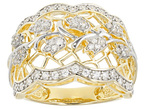 White Cubic Zirconia 18K Yellow Gold & Rhodium Over Sterling Silver Ring 0.75CTW