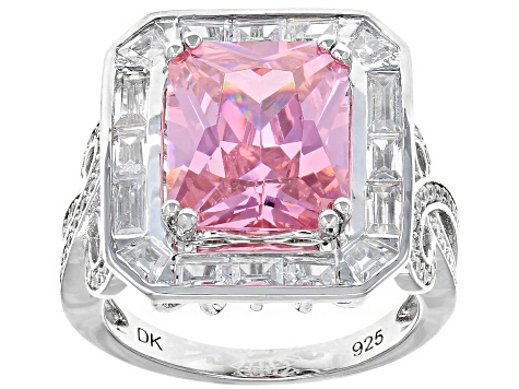 Pink And White Cubic Zirconia Rhodium Over Sterling Silver Ring 12.30CTW