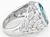 Caribbean Green (TM) And White Cubic Zirconia Rhodium Over Sterling Silver Ring 3.76CTW