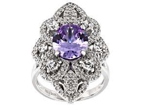 Purple And White Cubic Zirconia Rhodium Over Sterling Silver Ring 8.74CTW