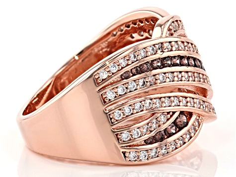 Brown And White Cubic Zirconia 18K Rose Gold Over Sterling Silver Ring 1.33CTW