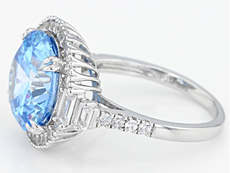Blue And White Cubic Zirconia Rhodium Over Sterling Silver Ring 10.93CTW