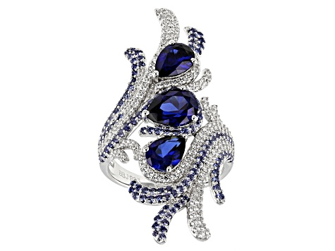 Lab Created Sapphire Corundum And White Cubic Zirconia Rhodium Over Sterling Silver Ring 5.39CTW