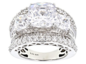 White Cubic Zirconia Rhodium Over Sterling Silver Ring 12.97CTW