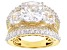 White Cubic Zirconia 18K Yellow Gold Over Sterling Silver Ring 12.97CTW