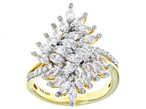 White Cubic Zirconia 18K Yellow Gold Over Sterling Silver 3.38CTW