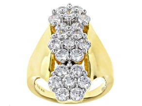 White Cubic Zirconia 18K Yellow Gold Over Sterling Silver Ring 5.10CTW