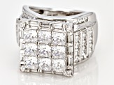White Cubic Zirconia Rhodium Over Sterling Silver Ring 6.60CTW