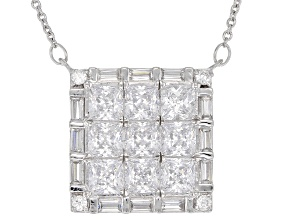 White Cubic Zirconia Rhodium Over Sterling Silver Necklace 6.12CTW