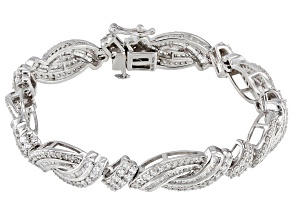 White Cubic Zirconia Rhodium Over Sterling Silver Bracelet 10.22CTW
