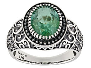 Green and White Cubic Zirconia Rhodium Over Sterling Silver Center Design Ring 5.00ctw