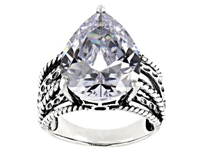 White Cubic Zirconia Rhodium Over Sterling Silver Ring 18.84CTW
