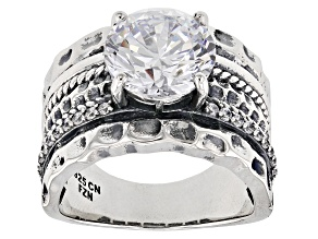White Cubic Zirconia Rhodium Over Sterling Silver Center Design Ring 6.47ctw