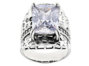 White Cubic Zirconia Rhodium Over Sterling Silver Center Design Ring 13.92ctw