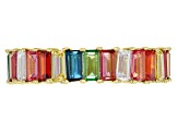 Red Lab Ruby, Lab Blue Spinel And Multicolor Cubic Zirconia 18K Gold Over Silver Ring