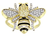 Black, White and Yellow Cubic Zirconia 18K Yellow Gold Over Silver Bumblebee Ring