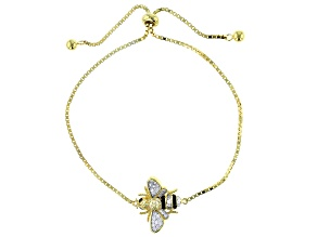 Black Diamond Simulant, Yellow/White Cubic Zirconia 18K Yellow Gold Over Silver Bumblebee Bracelet