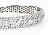 White Cubic Zirconia Rhodium Over Sterling Silver Bangle Bracelet 5.85ctw