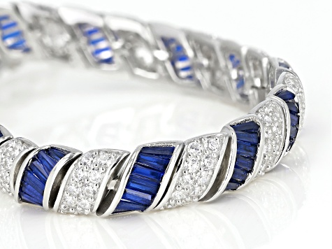 Lab Blue Spinel and White Cubic Zirconia Rhodium Over Sterling Silver Tennis Bracelet 19.10ctw