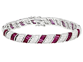Lab Created Red Corundum & White Cubic Zirconia Rhodium Over Silver Tennis Bracelet 19.10ctw