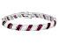Lab Created Red Corundum & White Cubic Zirconia Rhodium Over Silver Tennis Bracelet 19.10ctw