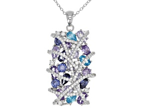 Multicolor Cubic Zirconia Rhodium Over Sterling Silver Pendant With Chain 8.52CTW