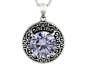 Purple Cubic Zirconia Rhodium Over Sterling Silver Pendant With Chain 7.93CTW