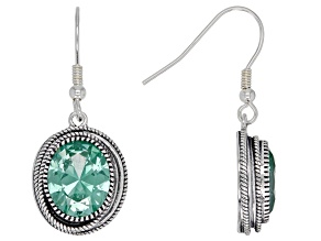 Green Cubic Zirconia Rhodium Over Sterling Silver Drop Earrings 9.00ctw