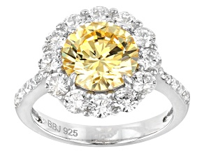 c543596fa Yellow And White Cubic Zirconia Rhodium Over Sterling Silver 7.34CTW