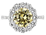 Yellow And White Cubic Zirconia Rhodium Over Sterling Silver 7.34CTW