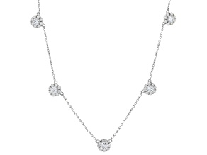 White Cubic Zirconia Rhodium Over Sterling Silver Floral Necklace 4.55ctw