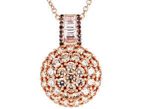 Brown And White Cubic Zirconia 18K Rose Gold Over Sterling Silver Pendant With Chain 4.91CTW