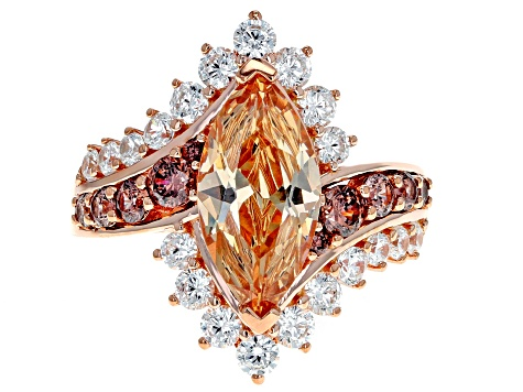 Champagne, Brown, And White Cubic Zirconia 18K Rose Gold Over Sterling Silver Ring 7.85CTW