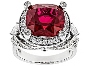 Lab Created Ruby And White Cubic Zirconia Rhodium Over Sterling Silver 10.13CTW