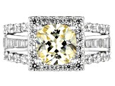 Yellow And White Cubic Zirconia Rhodium Over Sterling Silver Ring 5.43CTW