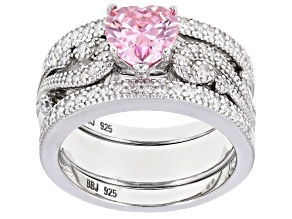 Pink And White Cubic Zirconia Rhodium Over Sterling Silver Heart Ring With Bands 2.50CTW