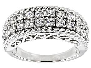 White Cubic Zirconia Rhodium Over Sterling Silver Ring 1.44CTW