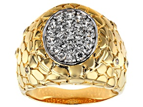 White Cubic Zirconia 18K Yellow Gold Over Sterling Silver Gents Ring 1.02CTW